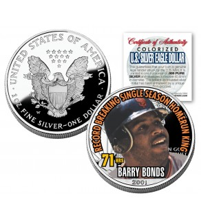 BARRY BONDS 2001 American Silver Eagle Dollar 1 oz U.S. Colorized Coin 71 HOMERUNS - Officially Licensed