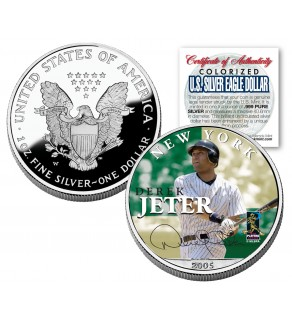 DEREK JETER 2005 American Silver Eagle Dollar 1 oz U.S. Colorized Coin Yankees - Officially Licensed