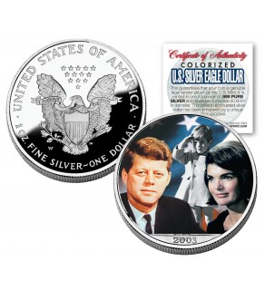 JOHN F KENNEDY 2003 American Silver Eagle Dollar Colorized Coin with JACKIE & JOHN JR