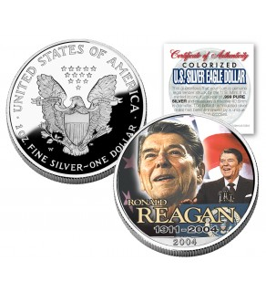 RONALD REAGAN 1911-2004 American Silver Eagle Dollar 1 oz US Colorized 2004 Coin