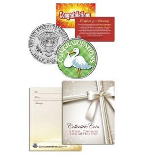 STORK - Congratulations Baby Gift Keepsake - JFK Kennedy Half Dollar U.S. Colorized Coin