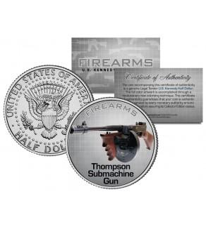 THOMPSON SUBMACHINE GUN Firearm JFK Kennedy Half Dollar US Colorized Coin