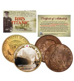 1912 TITANIC - 100th Anniversary - 2-Coin Set 24K JFK Half Dollar & 1912 UK Penny