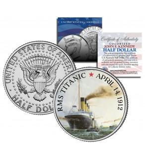 RMS Titanic Ship - 100th Anniversary - JFK Kennedy Half Dollar US Colorized Coin