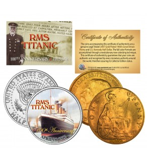 1900's Authentic TITANIC Great Britain - 100th Anniversary - 2-Coin 24K UK/US Set