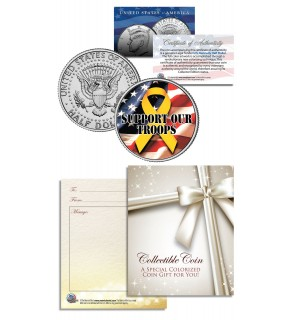 SUPPORT OUR TROOPS - YELLOW RIBBON - JFK Kennedy Half Dollar US Colorized Coin