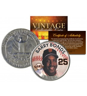 BARRY BONDS Colorized 1964 Silver Quarter U.S. Coin - Birth Year - Legal Tender - Officially Licensed