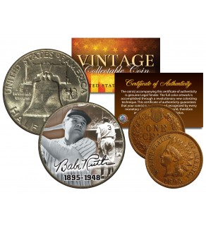 BABE RUTH 1948 Franklin Half Dollar & 1895 Indian Head Penny 2-Coin Set LIFETIME 1895-1948 - Officially Licensed