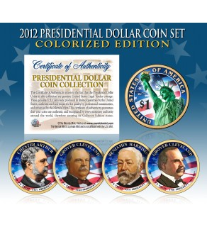 2012 Presidential $1 Dollar U.S. COLORIZED - Complete 4-Coin Set - with Capsules