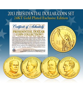 2013 Presidential $1 Dollar U.S. 24K GOLD PLATED - Complete 4-Coin Set - with Capsules