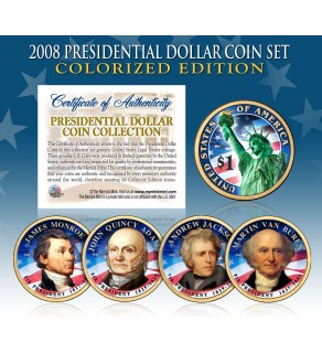 2008 Presidential $1 Dollar U.S. COLORIZED - Complete 4-Coin Set - with Capsules