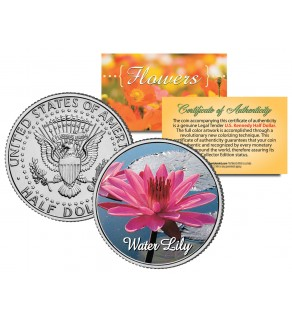 WATER LILY FLOWER JFK Kennedy Half Dollar U.S. Colorized Coin
