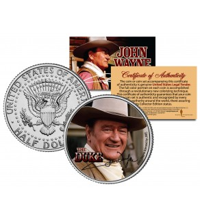 "JOHN WAYNE - THE DUKE "" Cowboy "" JFK Kennedy Half Dollar US Coin - Officially Licensed"