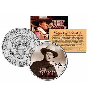 "JOHN WAYNE - THE DUKE "" Young Wayne "" JFK Kennedy Half Dollar US Coin - Officially Licensed"