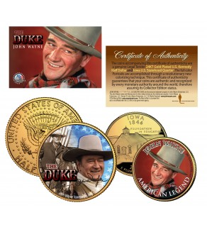 JOHN WAYNE Iowa Quarter & JFK Half Dollar U.S. 2-Coin Set 24K Gold Plated - Officially Licensed