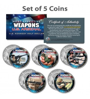 U.S. WEAPONS ARSENAL - Guns & Grenade - JFK Kennedy Half Dollars US 5-Coin Set