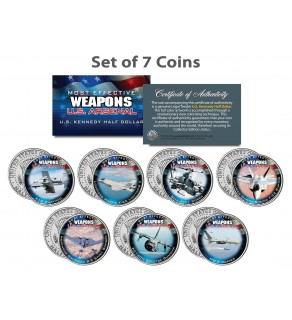 U.S. WEAPONS ARSENAL - AIRCRAFT - JFK Kennedy Half Dollars US 7-Coin Set