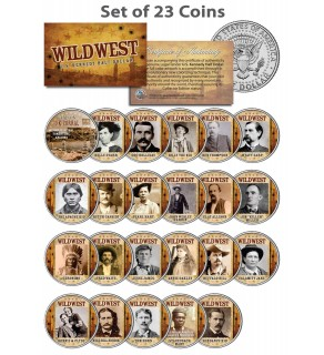 WILD WEST - OLD WEST OUTLAWS - Complete Set of 23 U.S. JFK Kennedy Half Dollar Colorized Coins