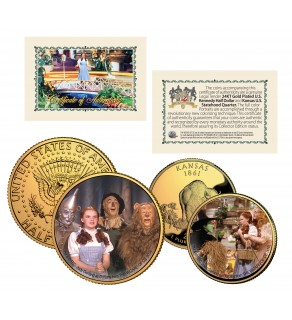WIZARD OF OZ - Cast - Kansas Quarter & JFK Half Dollar US 2-Coin Set 24K Gold Plated - Officially Licensed