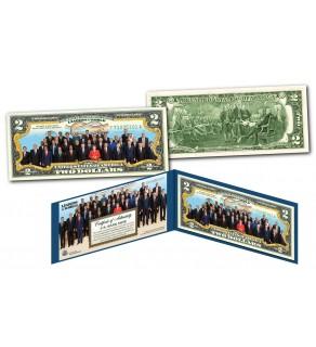 2017 WORLD LEADERS Colorized Genuine Legal Tender U.S. $2 Bill Banknote