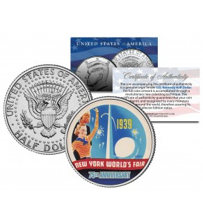 WORLD'S FAIR 1939 NEW YORK - 75th Anniversary - 2014 JFK Half Dollar US Coin