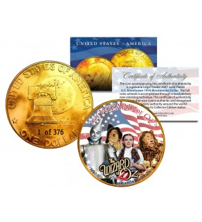 1976 WIZARD OF OZ 24K Gold Plated IKE Dollar - Each Coin Serial Numbered of 376 - Officially Licensed