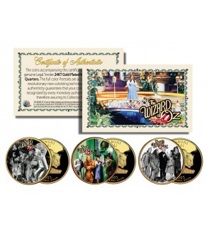 Wizard of Oz MOVIE SCENES 24KGold Plated Kansas State Quarters US 3-Coin Set - Officially Licensed