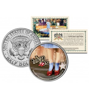 """WIZARD OF OZ """" Ruby Red Slippers """" JFK Kennedy Half Dollar US Coin - Officially Licensed"""