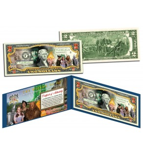 WIZARD OF OZ Genuine Legal Tender US $2 Bill - Officially Licensed