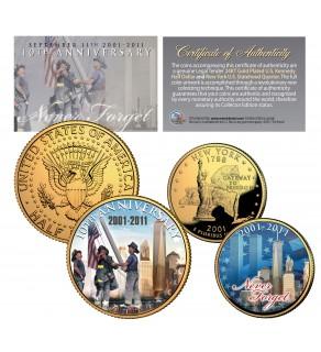 WORLD TRADE CENTER 10th Anniversary 9/11 NY Quarter & JFK Half Dollar 2-Coin Set 24K Gold Plated