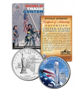 WORLD TRADE CENTER - 12th Anniversary - FREEDOM TOWER 9/11 NY State Quarter Coin WTC
