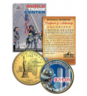 WORLD TRADE CENTER - 4th Anniversary - 9/11 NY State Quarter US Coin 24K Gold Plated WTC