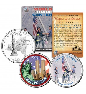 WORLD TRADE CENTER 9/11 Colorized New York State Quarters U.S. 2-Coin Set WTC