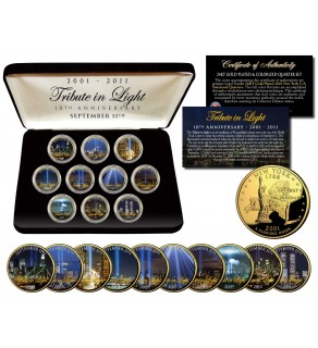 WORLD TRADE CENTER 9/11 - Tribute in Light - 10th Anniversary - New York Quarters 10-Coin Set 24K Gold Plated