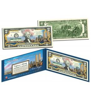 WORLD TRADE CENTER 9/11 Skyline COLORIZED Legal Tender $2 U.S. Bill - NEVER FORGET