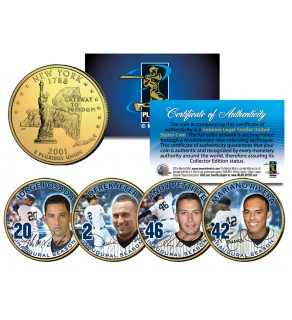 YANKEES CORE FOUR Statehood New York Quarters US 4-Coin Set 24K Gold Plated - JETER MARIANO POSADA PETTITTE