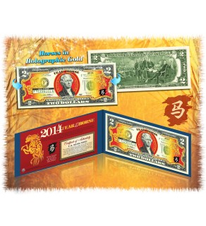 2014 Chinese New Year - YEAR OF THE HORSE - Gold Hologram Legal Tender U.S. $2 BILL - Lucky Money ($49.95) ***SOLD OUT