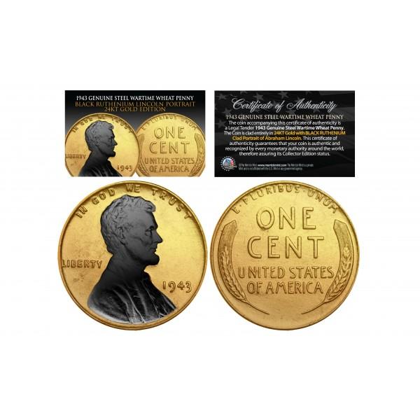 24K GOLD Clad 1943 Genuine Steel Wartime Wheat Penny U S