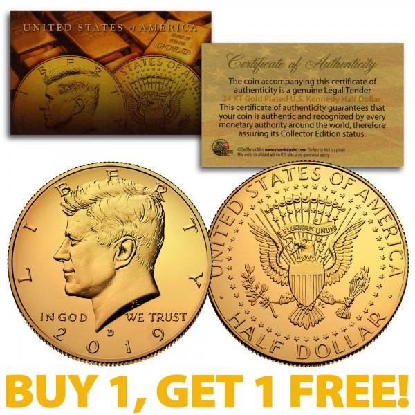 Coin w// 2-SIDED 24K Gold Denver MINT Black RUTHENIUM 2019 JFK Half Dollar U.S