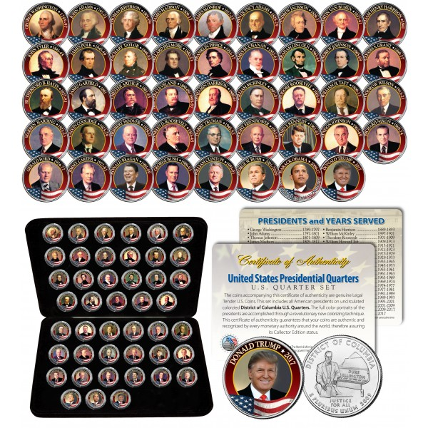 All 45 united states presidents complete coin collection for Presidents and their home states