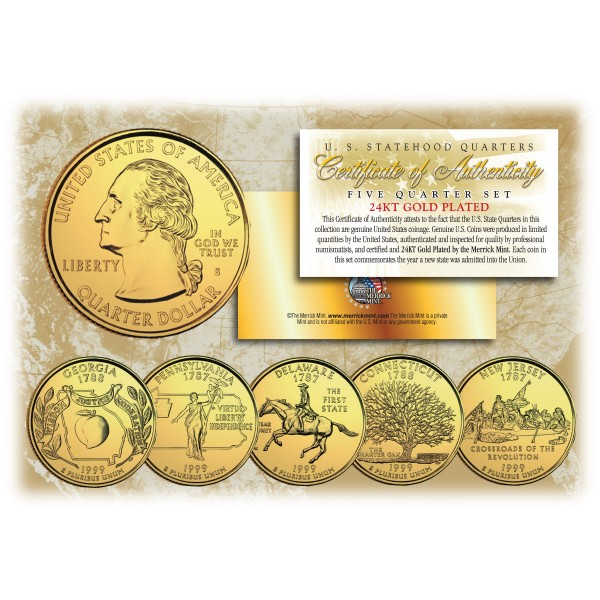 1999 US Statehood Quarters 24K GOLD PLATED - 5-Coin Complete Set - with Capsules u0026 COA  sc 1 st  The Merrick Mint & 1999 US Statehood Quarters 24K GOLD PLATED - 5-Coin Complete Set ...
