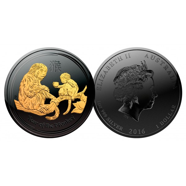 e722d533977 2016 Year of the Monkey BLACK RUTHENIUM   24K GOLD .999 Genuine Silver 1 oz  Australian Perth Mint Coin