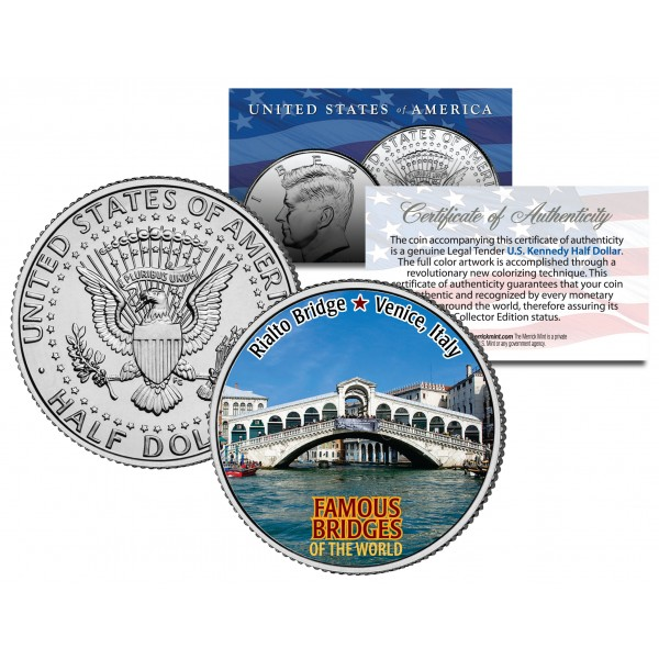 Rialto Bridge Famous Bridges Colorized Jfk Half Dollar Us Coin Venice Italy