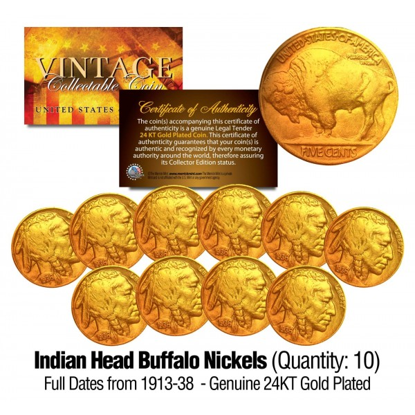 a1f872a0c4a5 Lot of 10 Various Full Date BUFFALO NICKELS US Coins - 24K Gold Plated -  Indian Head Nickels ...