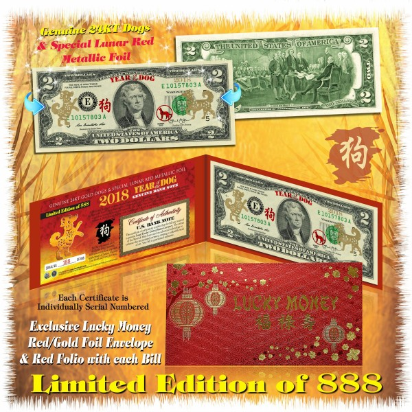 USA $1 $2 Doller Bill Set 2018 Chinese New YEAR OF DOG Gold Hologram Certified