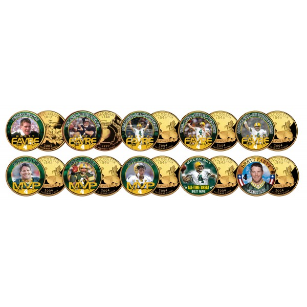 Brett Favre 24k Gold Plated Us Statehood Colorized Quarters 10 Coin Complete Set Officially Licensed