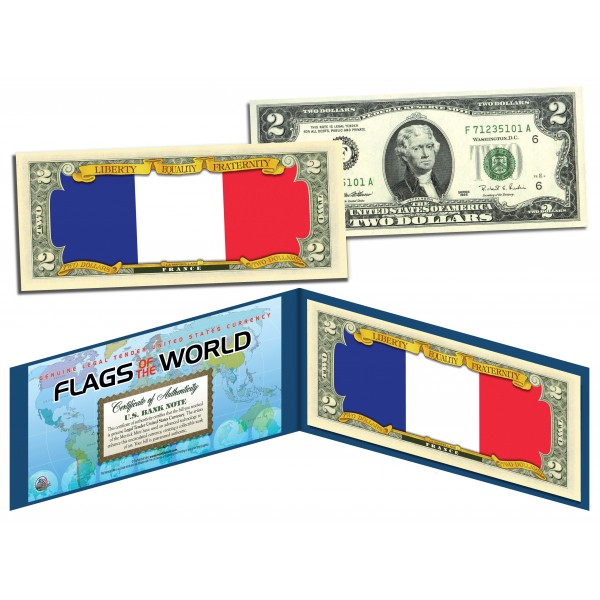 France Official Flags Of The World Genuine Legal Tender U S 2 Two Dollar Bill Currency Bank Note
