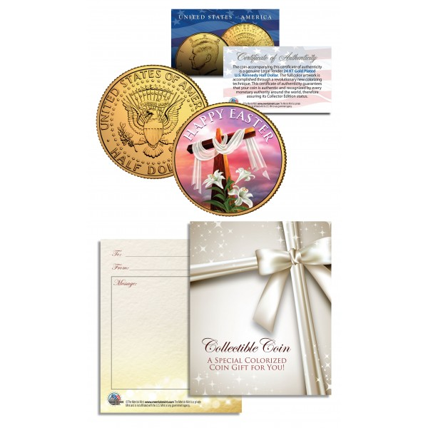 Happy easter religious gift jfk kennedy half dollar coin 24k gold plated negle Images