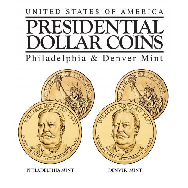 "USA 1 dollar 2013 P mint /""William Howard Taft/"" UNC"