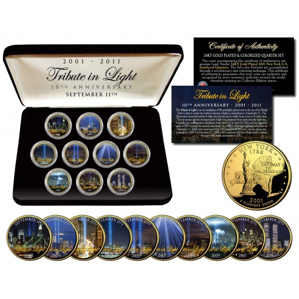 WORLD TRADE CENTER 9/11 - Tribute in Light - 10th Anniversary - New York Quarters 10-Coin Set 24K Gold Plated  sc 1 st  The Merrick Mint & WORLD TRADE CENTER 9/11 - Tribute in Light - 10th Anniversary - New ...